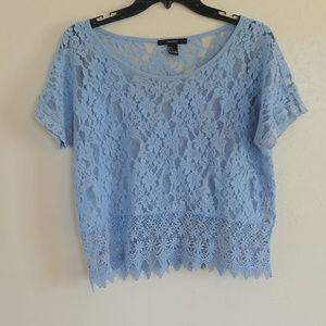 Forever 21 baby blue lace blouse size small
